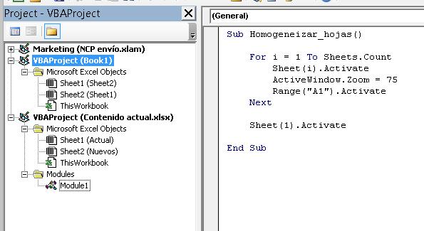 arrastrar un módulo de VBA