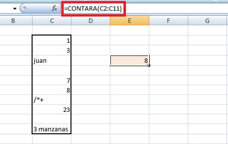 función contara en Excel