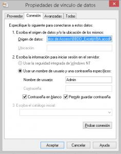 Importar vínculo de datos al importar datos de un access a Excel