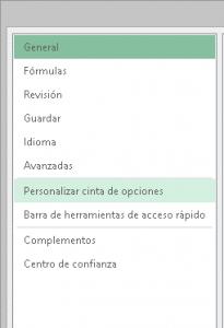 Personalizar la cinta de opciones de excel