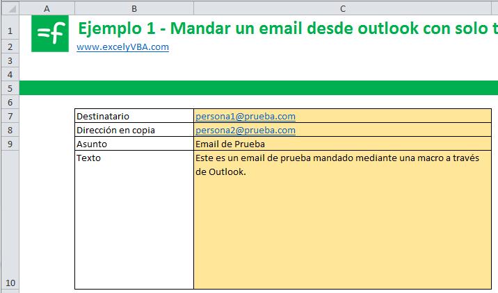 mandar email con excel