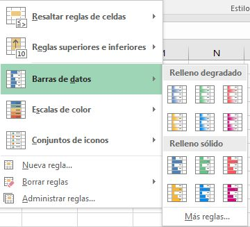 tipos de formato condicional barra de datos