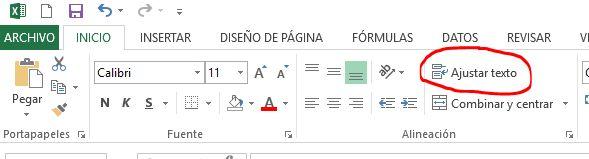 Configuración para mostrar salto de línea