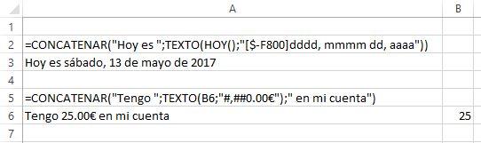Concatenar con formatos de texto