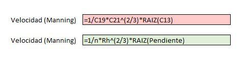Fórmula de Manning con y sin uso de nombres